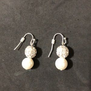 Pearl And Bling Dangle Earrings